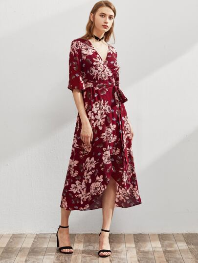 Flower Print Split Sleeve Self Tie Wrap Dress