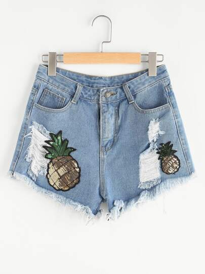 Shorts lacéré en denim avec des sequins