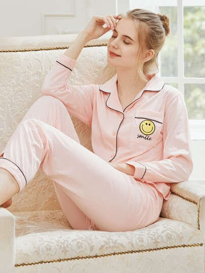 Contrast Binding Embroidered Long Pajama Set