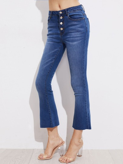 Buttoned Fly Bleach Wash Flared Jeans