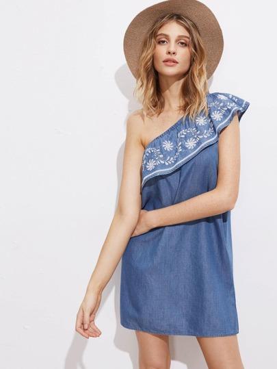 Oblique Ruffle Shoulder Embroidery Denim Dress