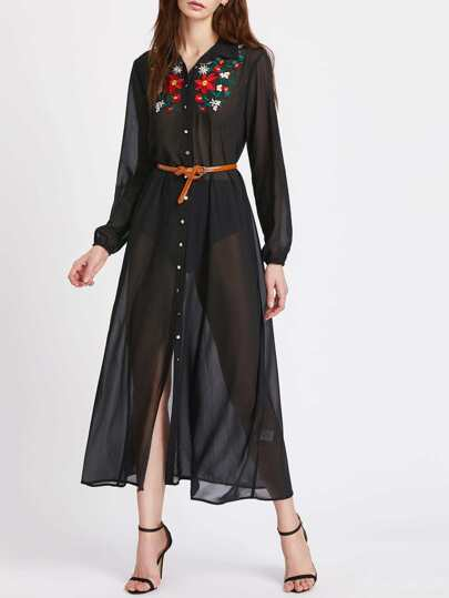 Embroidered Yoke Elasticized Cuff Semi Sheer Shirt Dress