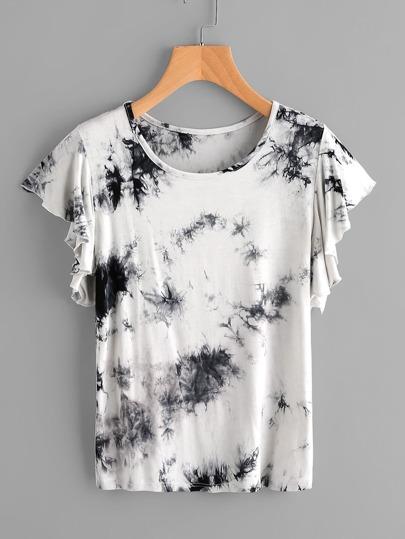 Camiseta de efecto teñido anudado con volantes