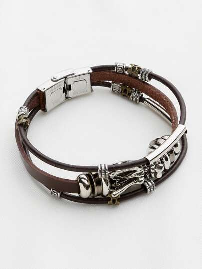 Dragon Detail Tres Layer Pulsera Retro