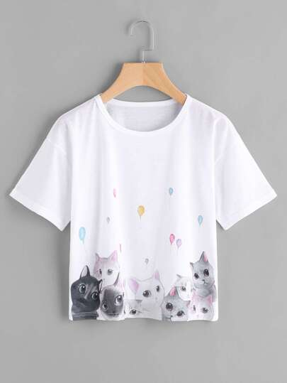 Cats Print Drop Shoulder Tee