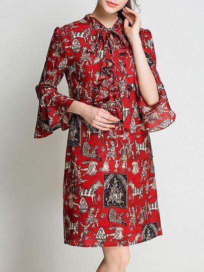 Tie Neck Bell Sleeve Vintage Print Dress