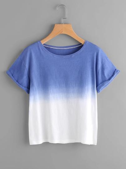 Ombre Drop Shoulder Cuffed Sleeve T-Shirt