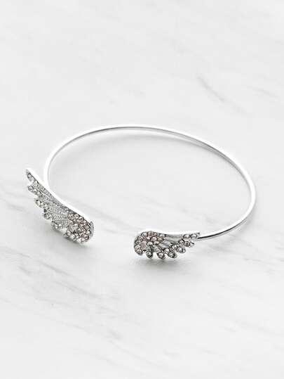 Rhinestone Embellished Wing Design Cuff Bracelet