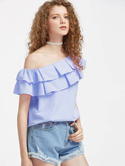 Asymmetrical Off Shoulder Pinstripe Layered Frill Trim Top