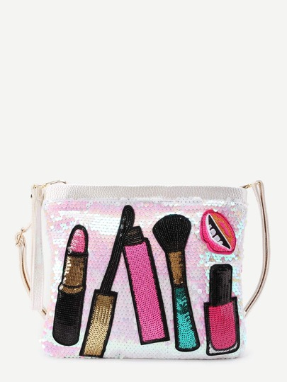 Lipstick Pattern Sequin Design Clutch Bag
