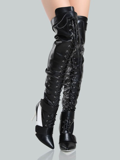 Faux Leather Racer Lace Up Thigh Highs BLACK