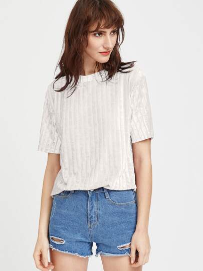 Drop Shoulder Striped Velvet T-shirt