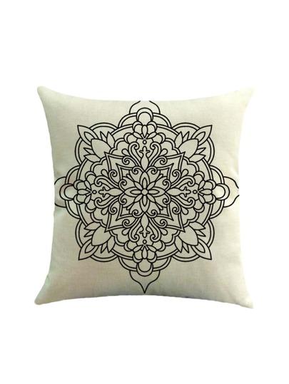 Taie d'oreiller imprimé géométrique et des fleurs