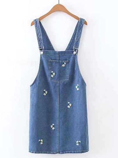 Flower Embroidery Denim Overall Dress