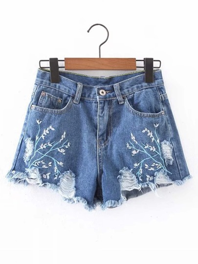 Ripped Detail Embroidery Denim Shorts