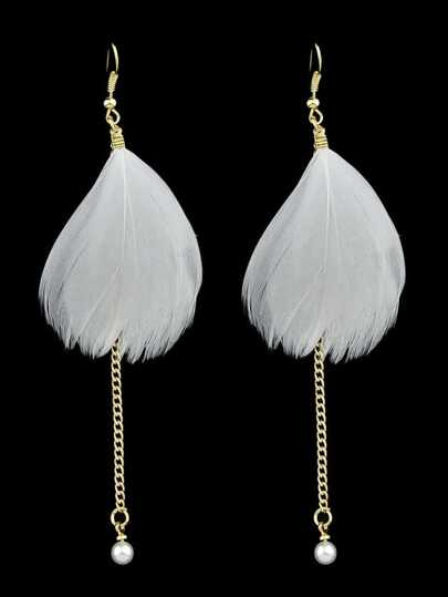 Boho Style White Color Feather Long Chain Earrings