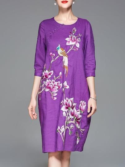 Flowers Bird Embroidered Pockets Dress