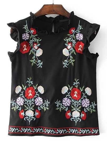 Ärmellose Bluse mit Falten und Stickereien