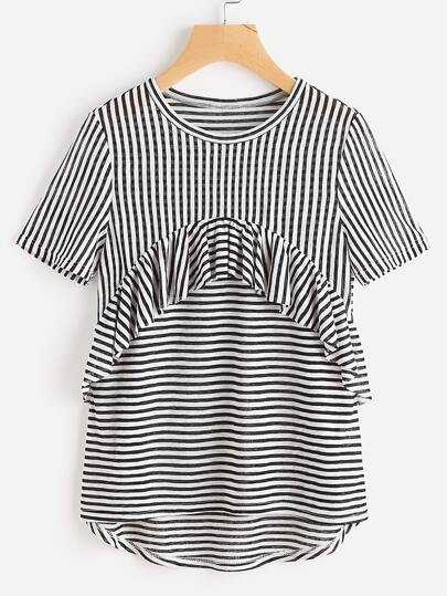 Frill Trim High Low Striped T-shirt