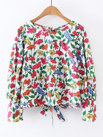 Flower Print Knot Back Top