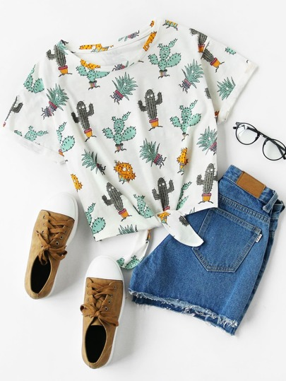 Cuffed Sleeve Knot Front Cactus Print Tee