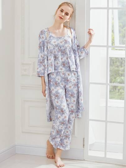 Daisy Print Cami Pajama Set With Robe