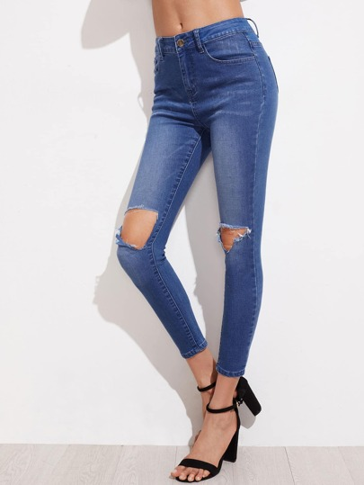 Bleach Wash Knee Ripped Skinny Jeans