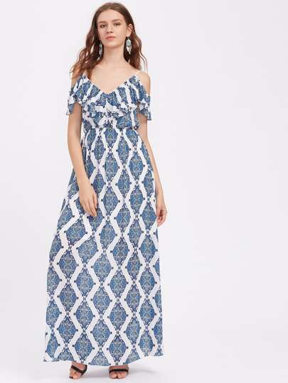 Paisley Print Frill Cold Shoulder Dress