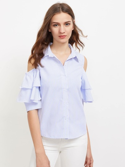 Open Shoulder Tiered Frill Sleeve Blouse