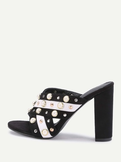 Faux Pearl And Studded Decorated Cross Strap Heeled Sandals