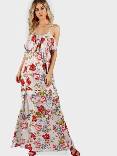Flounce Spaghetti Strap Maxi Dress BEIGE