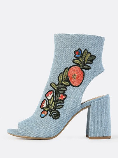 Embroidered Denim Peep Toe Booties LIGHT BLUE DENIM