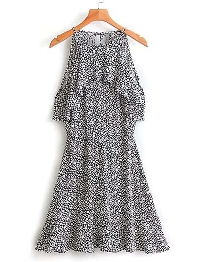 Robe ligne A imprimée avec des plis