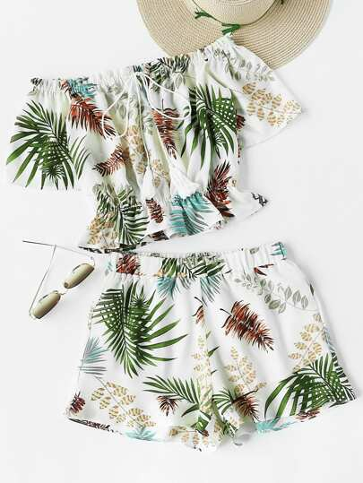 Top imprimé tropical avec des franges &Shorts