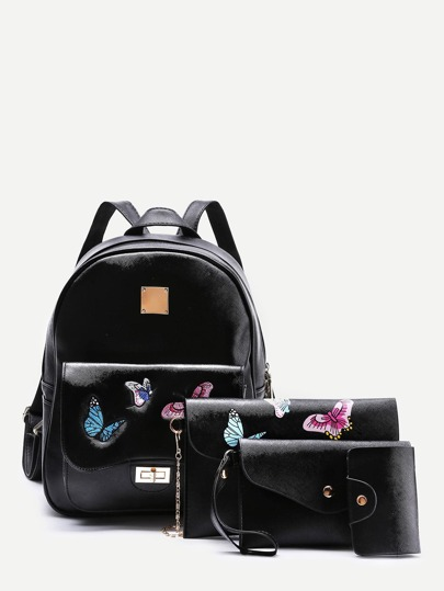 Butterfly Embroidery PU Combination Bag 3pcs
