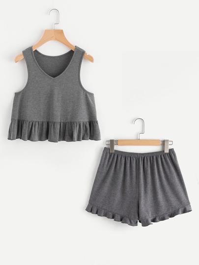 Heather Knit Ruffle Tank Top And Shorts Pajama Set