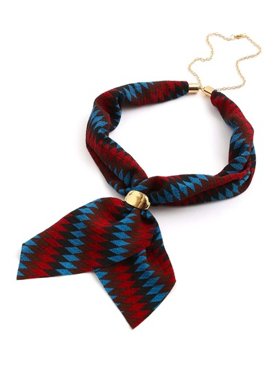 Geometric Patchwork Neckerchief With Chain