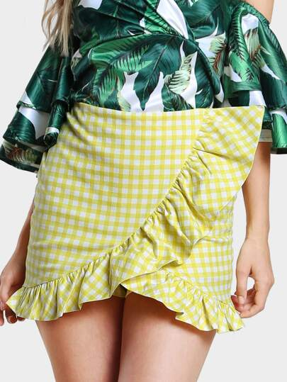 Pleated Gingham Skirt YELLOW