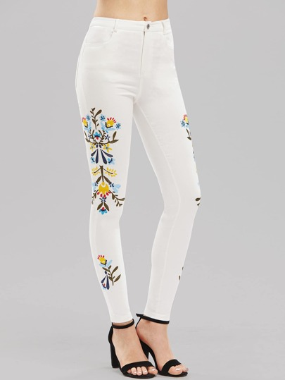 Botanical Embroidered Skinny Pants