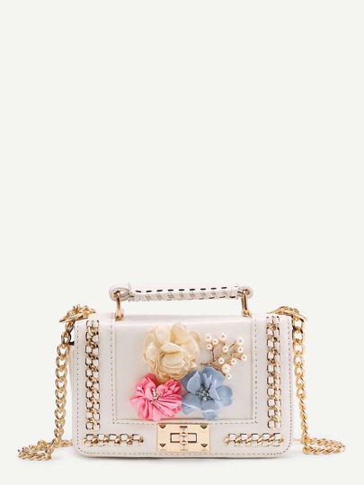 Random Color Flower Embellished  Chain Bag With Handle