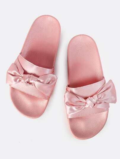 Satin Bow Slides PINK
