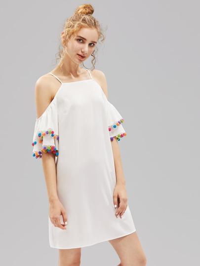 Pom Pom Trim Layered Bell Sleeve Dress