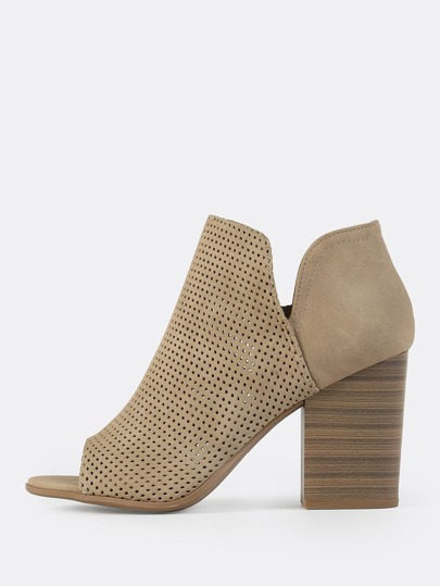 Faux Leather Perforated Booties LIGHT TAUPE