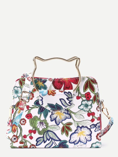 Flower Embroidery Shoulder Bag With Cat Ear Handle