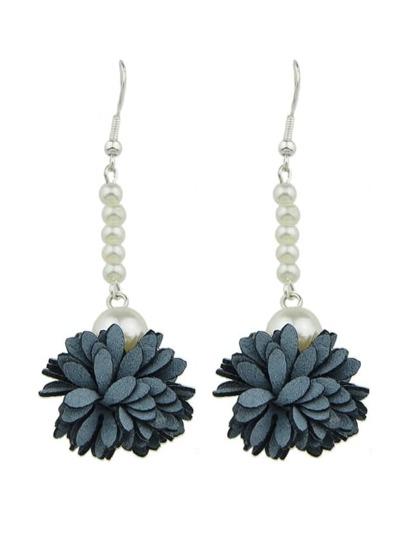 Gray Color Imitation Pearl Flower Danling Earrings