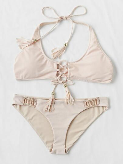 Lace Up Fringe Cutout Bikini Set
