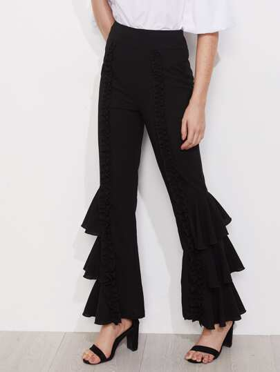 Shirred Ruffle Detail Layered Leg Pants