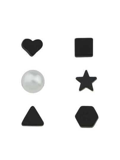6 Pcs/Set Black Color Heart Star Triangle Small Stud Earrings