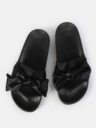 Satin Bow Slip On Slides BLACK
