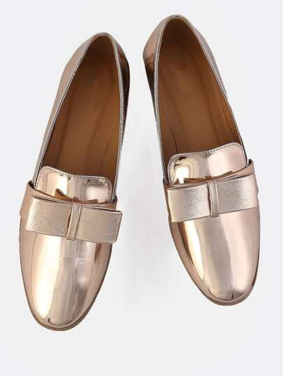 Metallic Bow Loafers ROSE GOLD